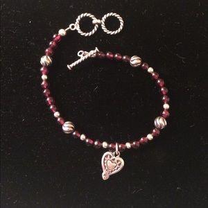Silpada Sterling Silver & Red Garnet Bracelet.